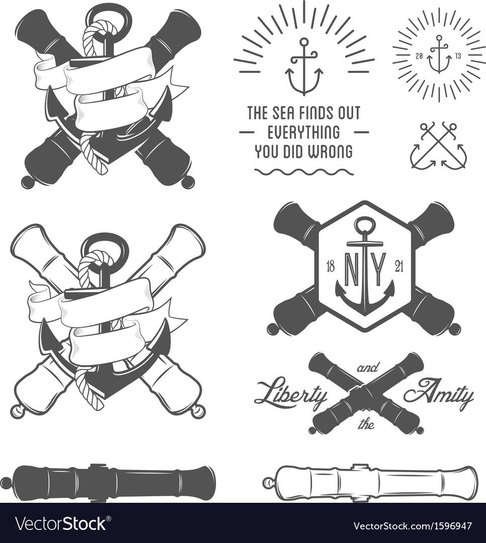 Set of vintage nautical labels and design elements