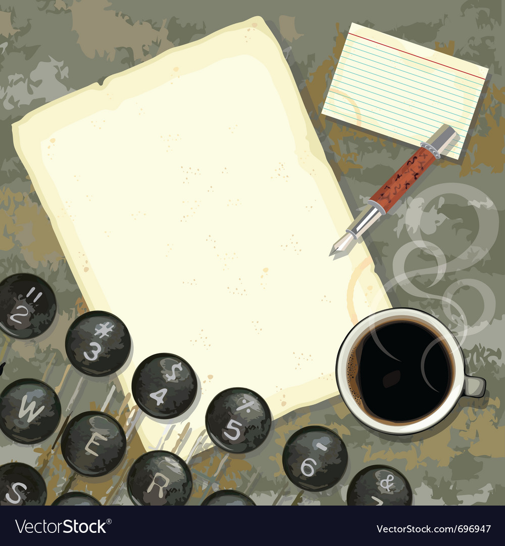 Writers desk with typewriter