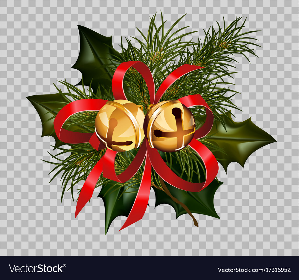 Christmas decoration holly fir wreath bow golden
