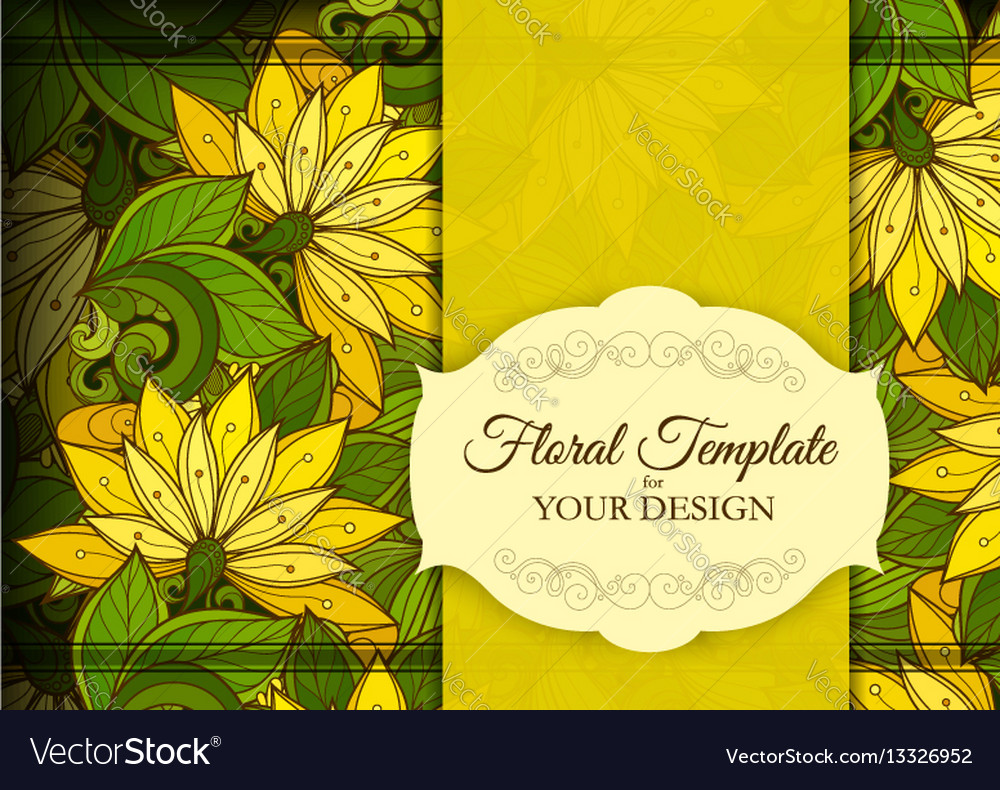 Colored floral template with place for text