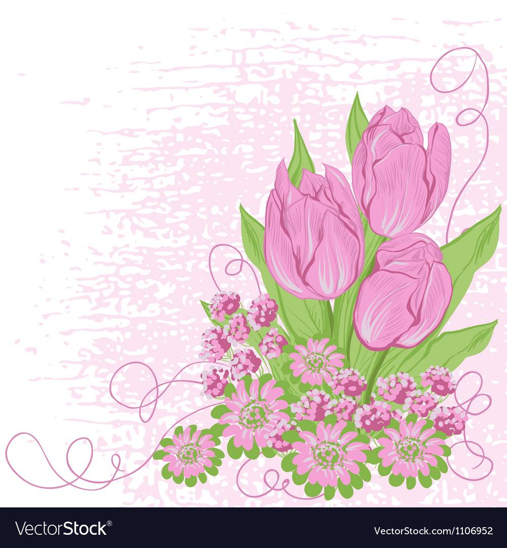 Design Card Of Tulips Flower Background