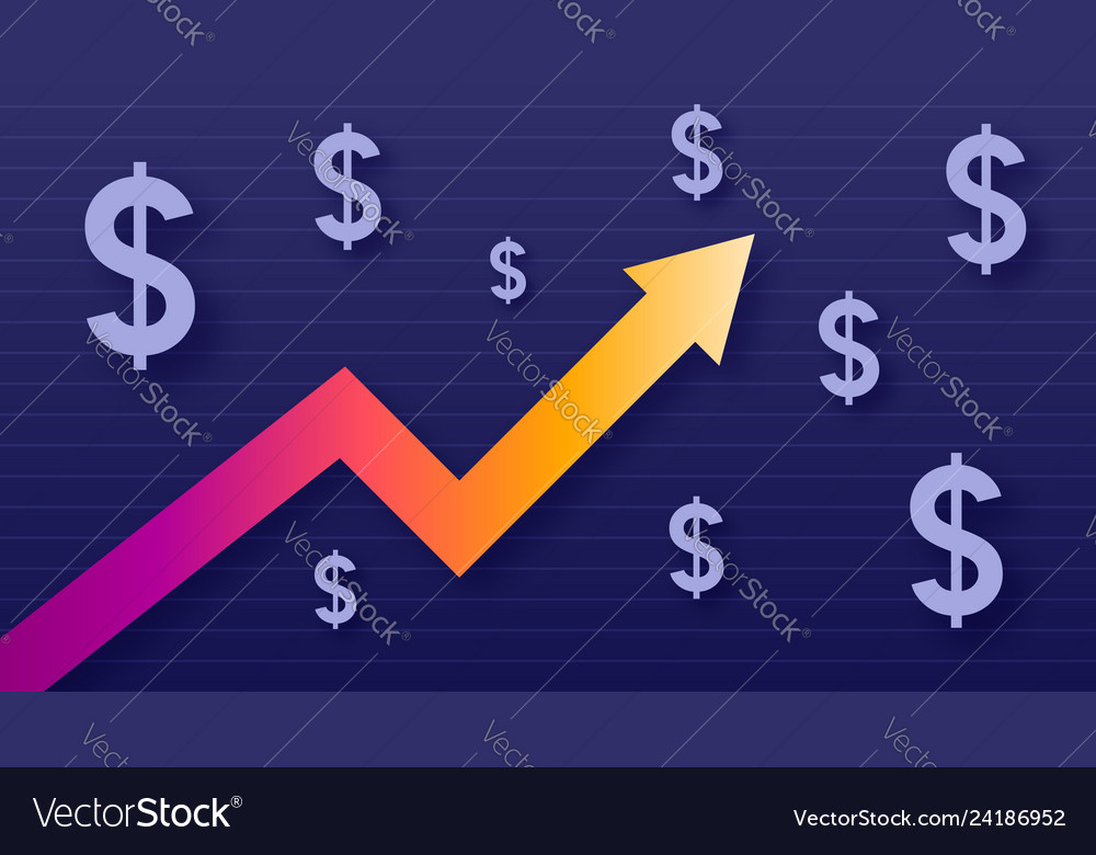 Graph show value growth of dollar modern trendy