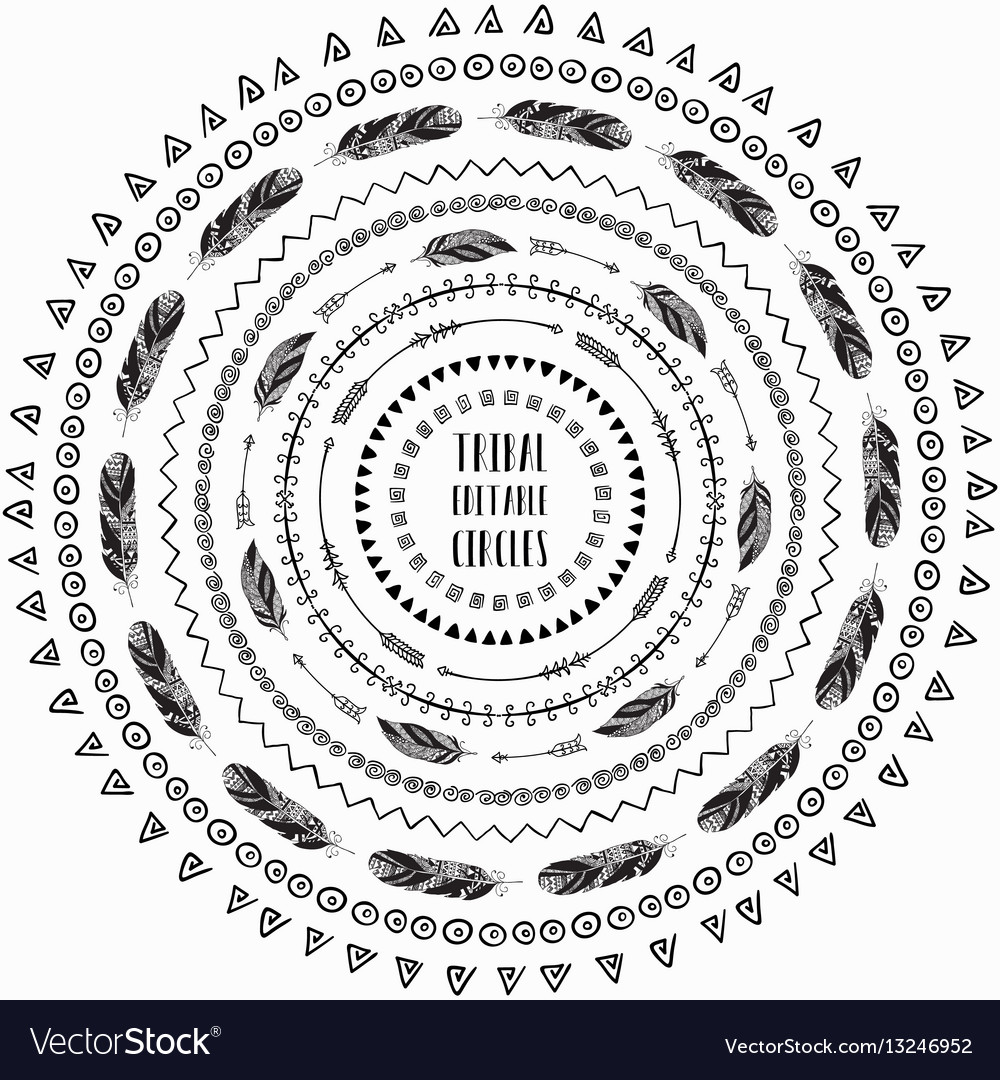 Hand drawn ethnic circles frames editable pattern vector image