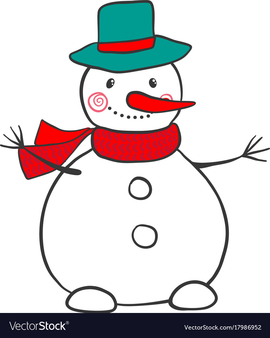 Hand drawn snowman isolated on white