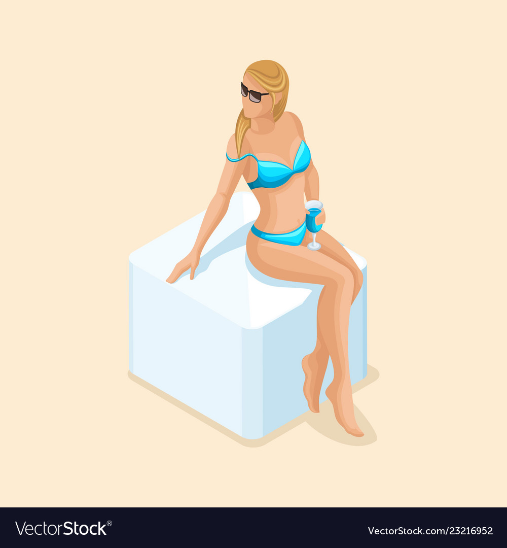 Isometric girl in a bright swimsuit in beach sea