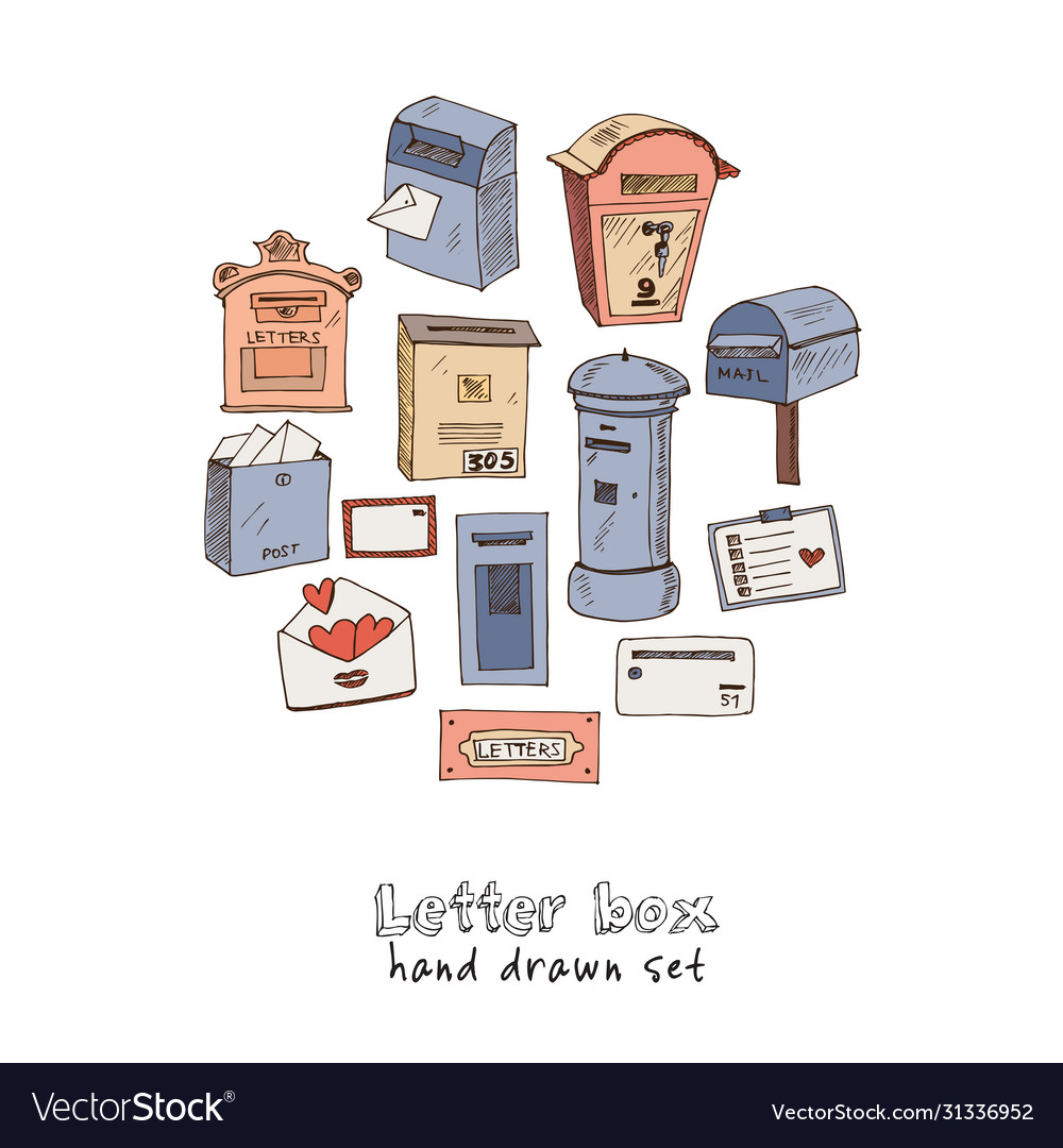 Letter box hand drawn doodle set isolated