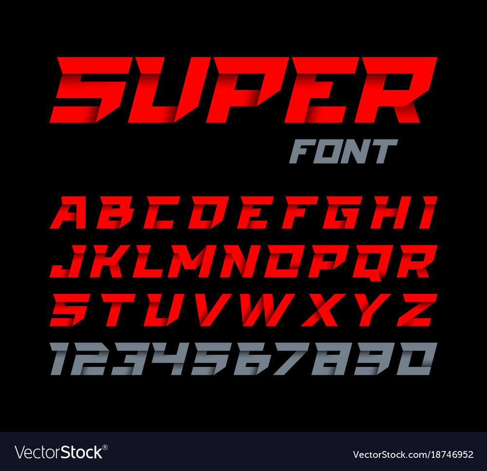 Paper style super font italic type alphabet and