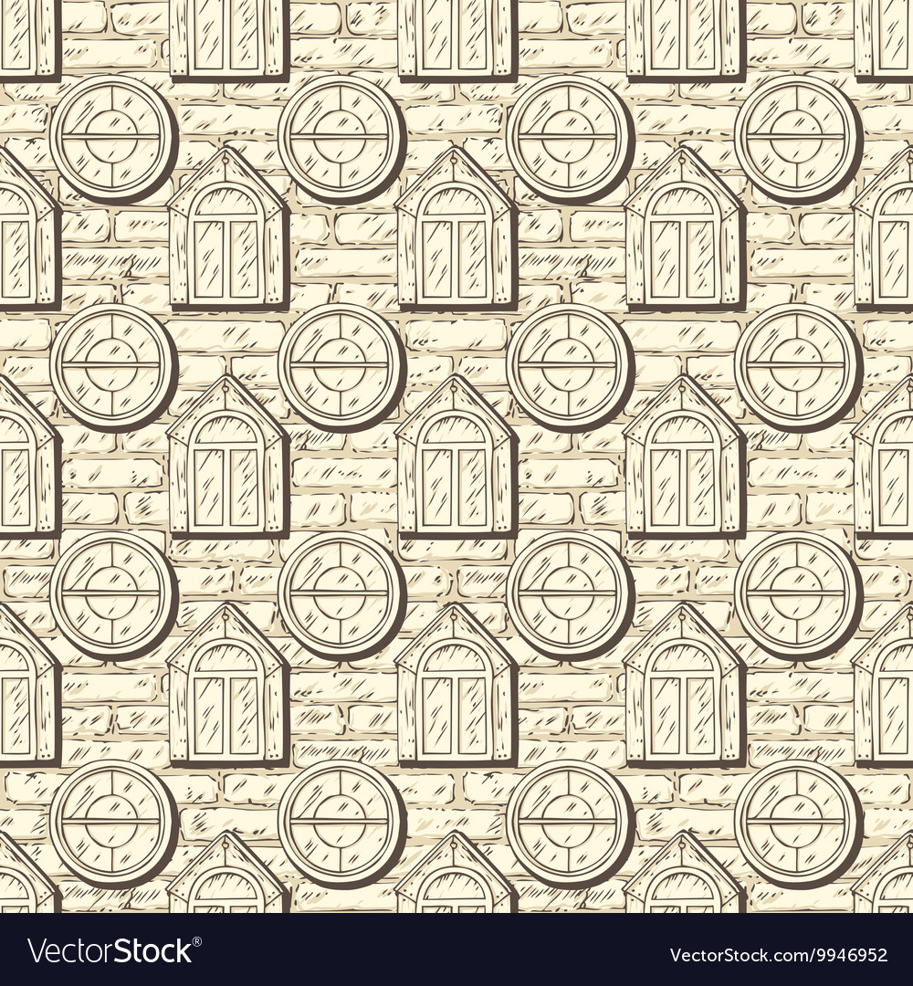 Seamless Pattern with Brick Wall and