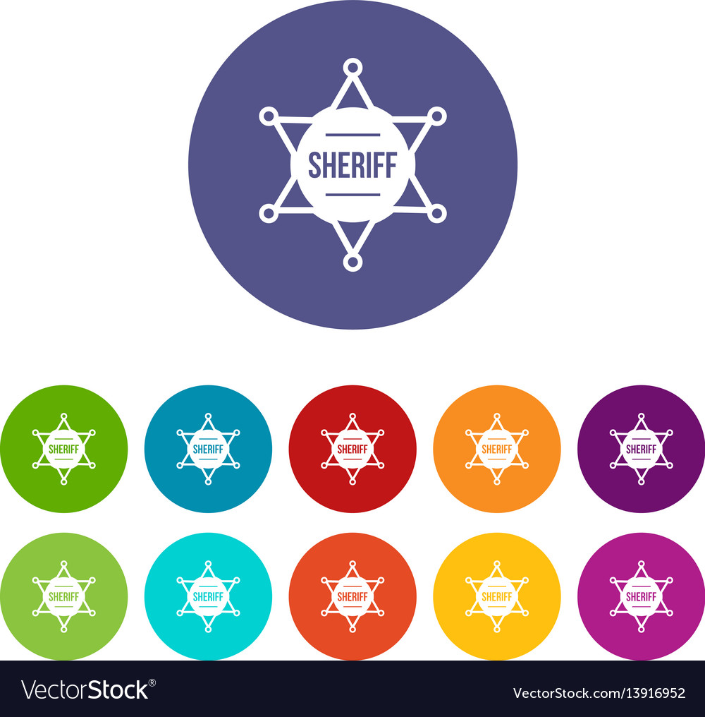 Sheriff badge set icons vector image