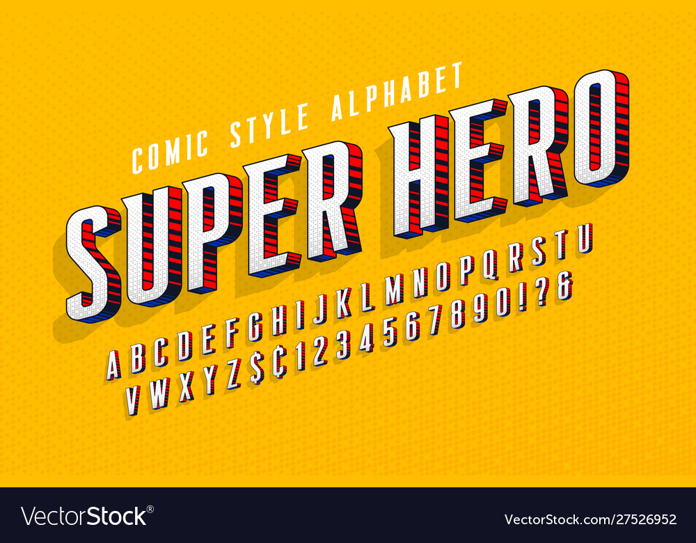 Trendy 3d comical letters design colorful