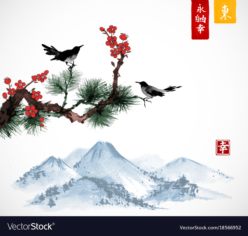Two birds on sakura and pine tree branch and