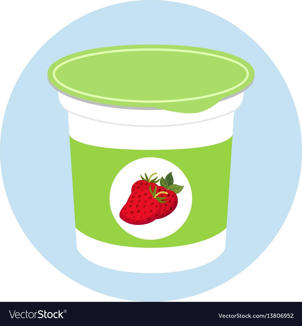 Yogurt healthy cream milk product in plastic