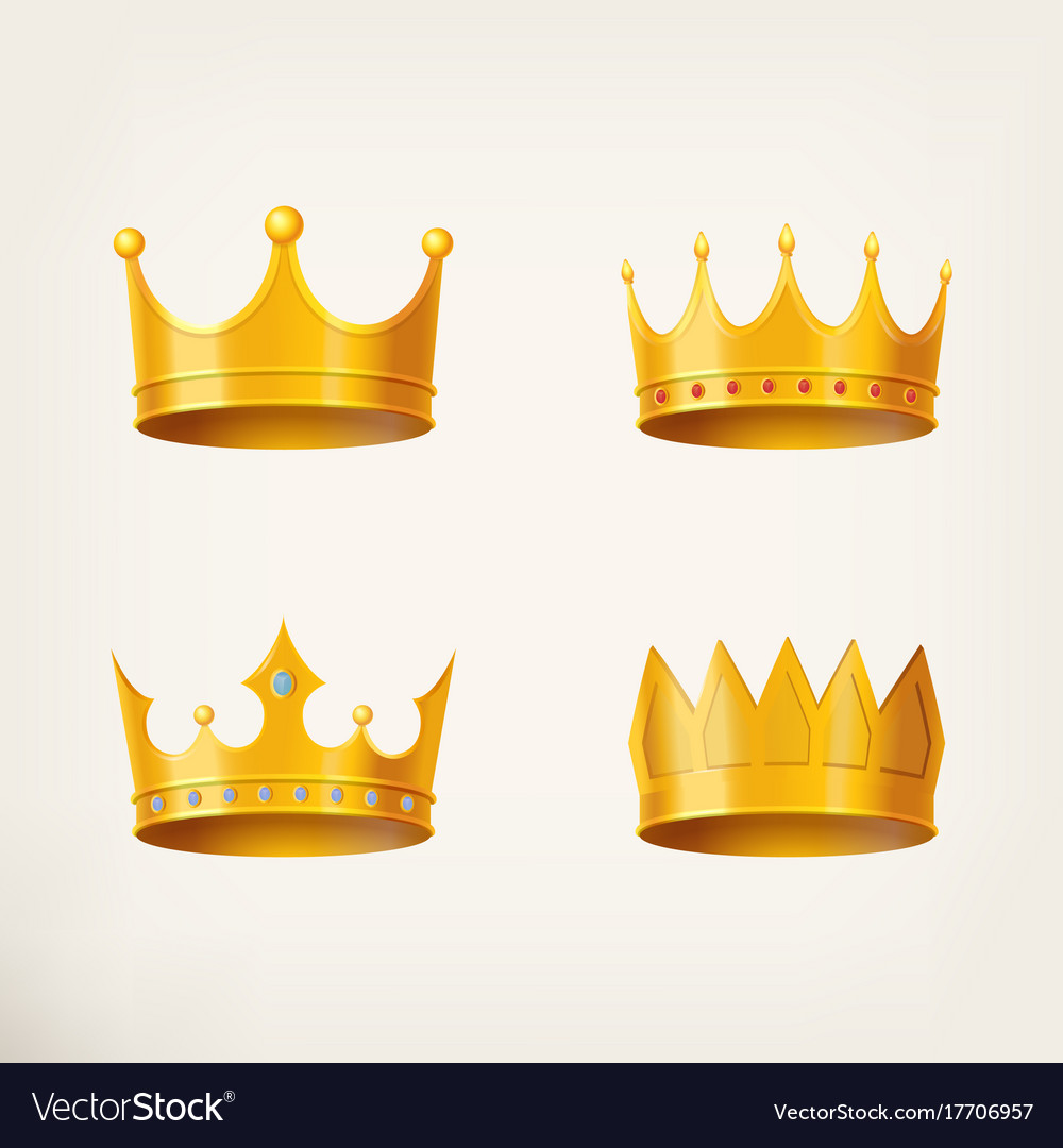 3d Golden Crown For Queen Or Monarch King Vector Image