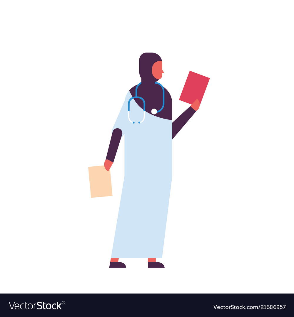 Arab woman holding clipboard medical doctor