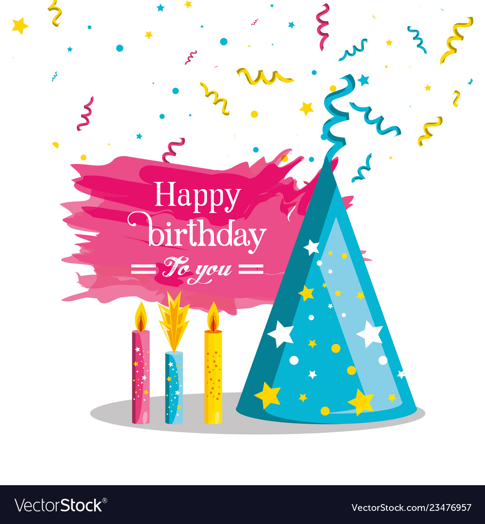 Birthday Hat With Candles Of Party Royalty Free Vector Image