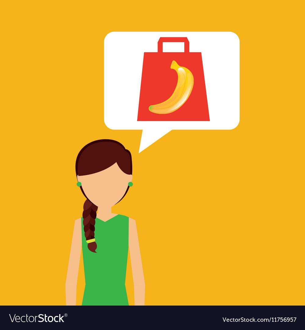 Cartoon girl shopping banana fruit icon