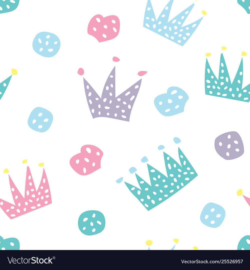Childish seamless pattern with crowns and hearts