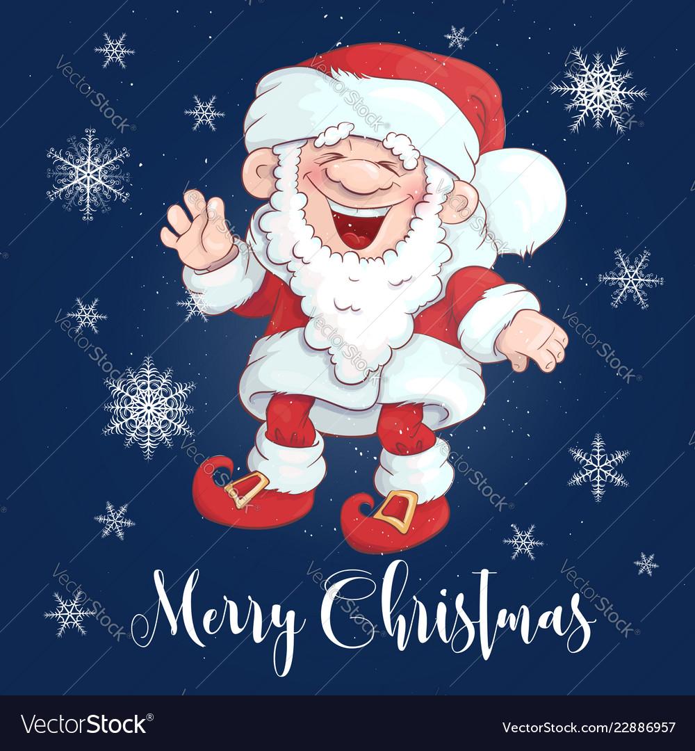 Christmas card funny cartoon santa claus for