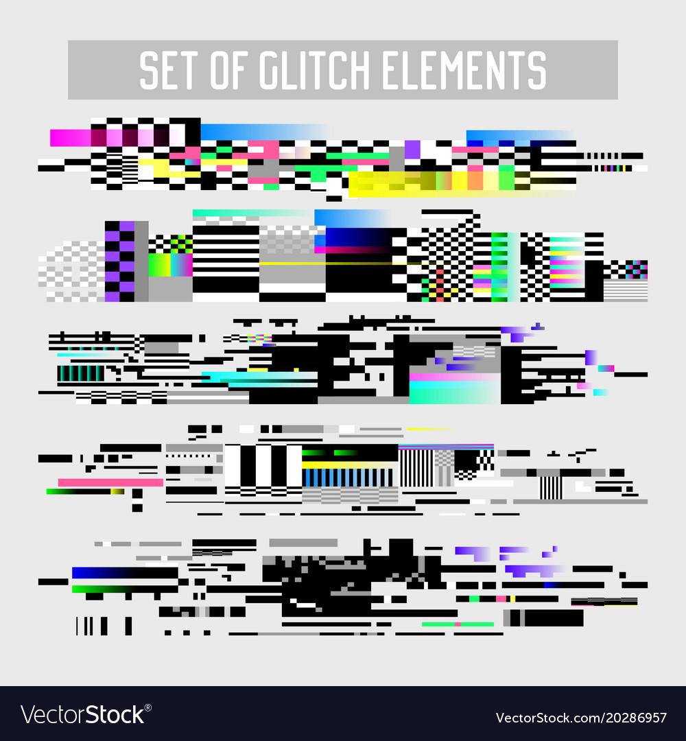 Glitch effect elements set tv distortion noise