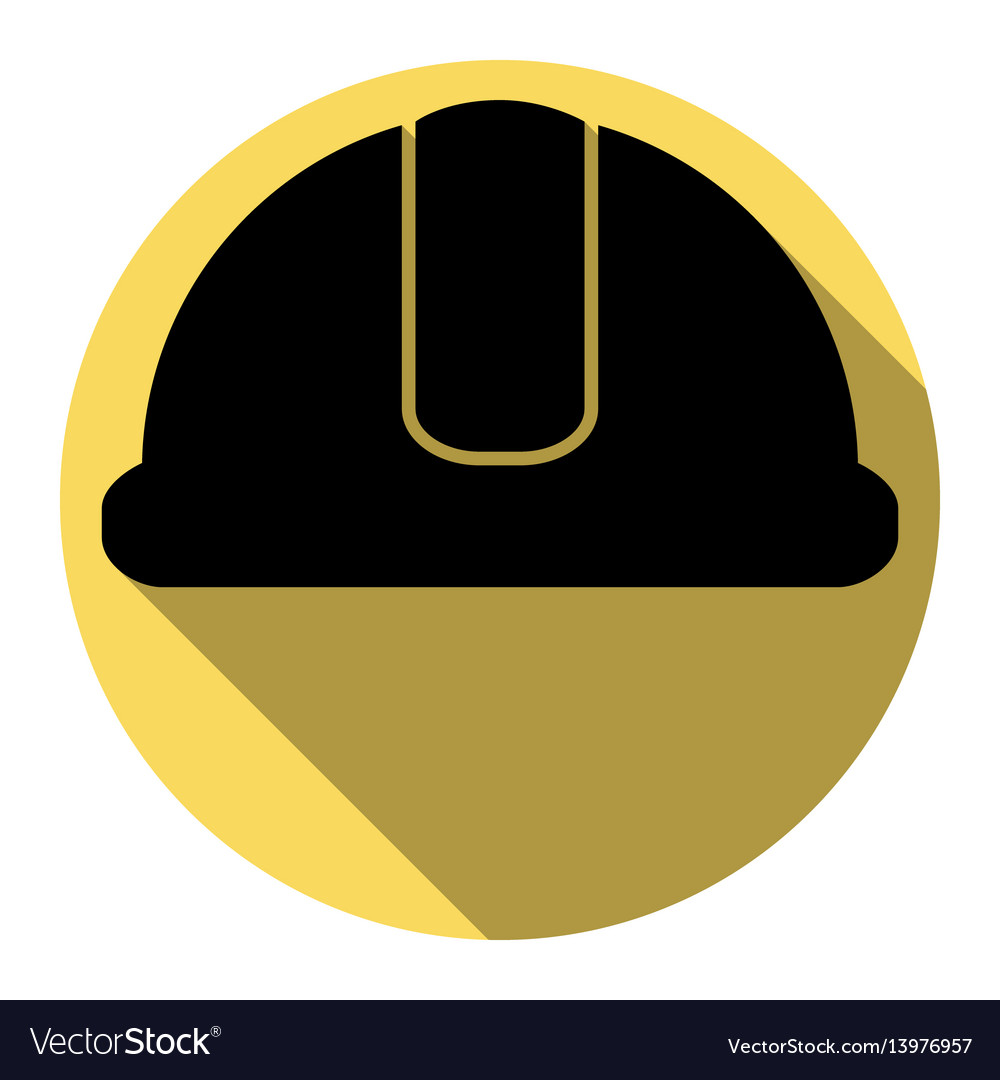 Hardhat sign flat black icon with flat