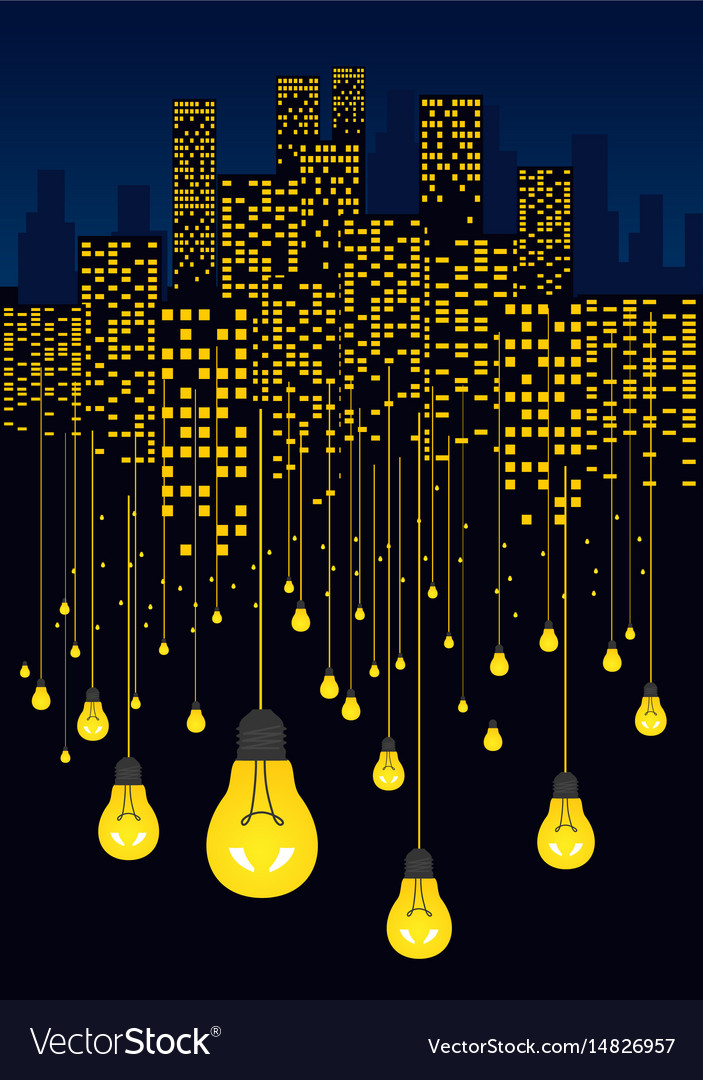 Night city and light bulbs hanging on wires