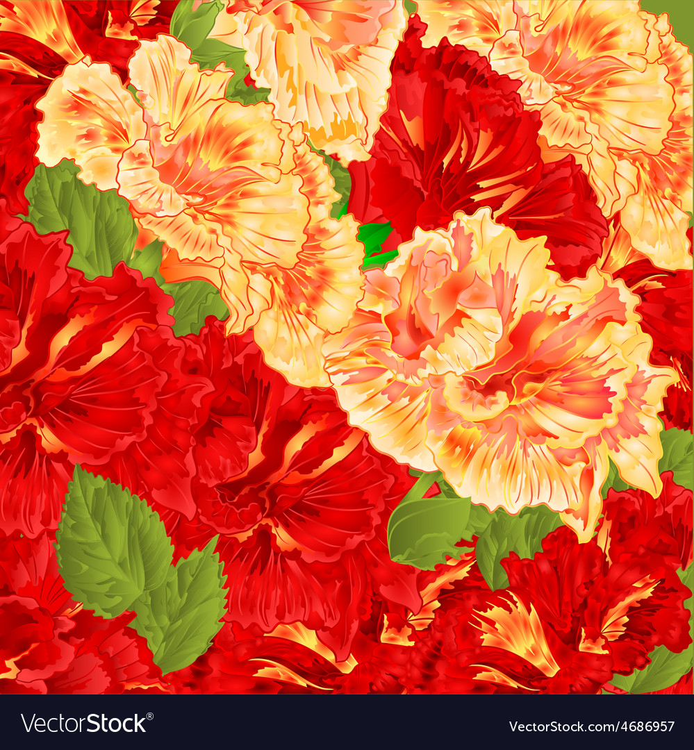 Red And Yellow Flowering Shrub Floral Background Vector Image