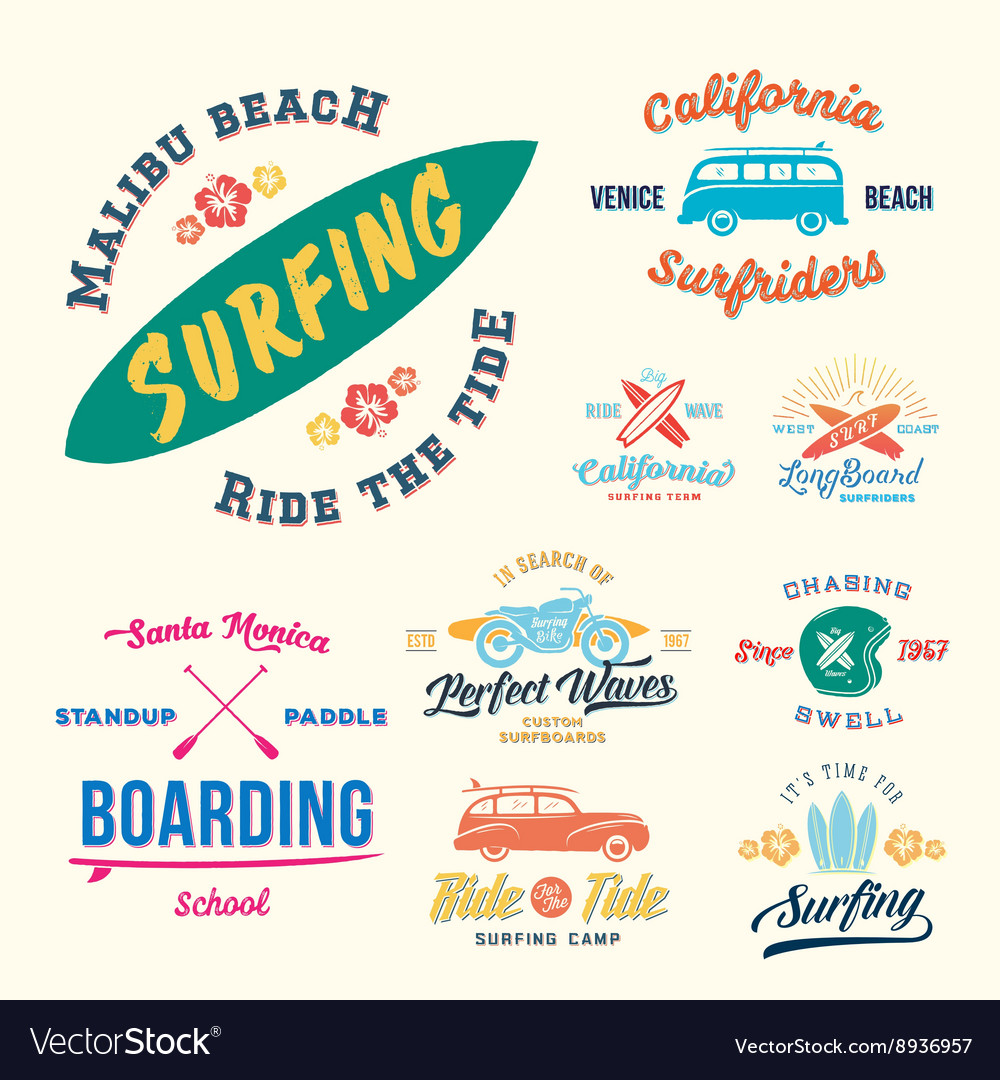 Retro Style Surfing Labels Logos or T