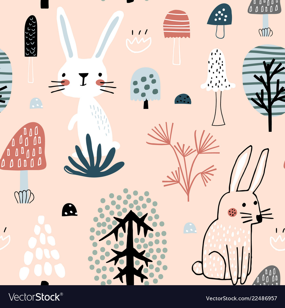 Semless woodland pattern with cute rabbits