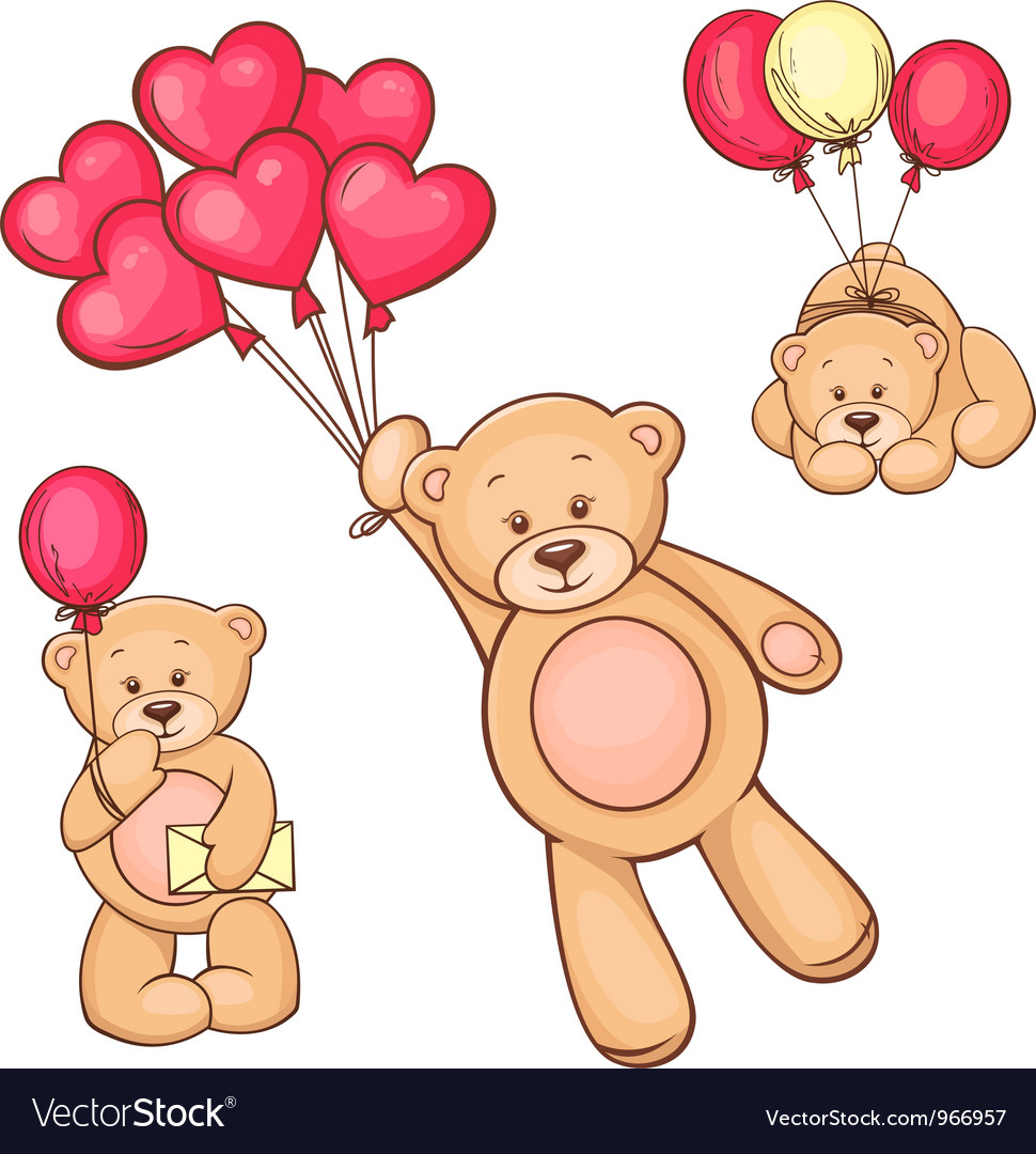 Set of teddy bear and balloons