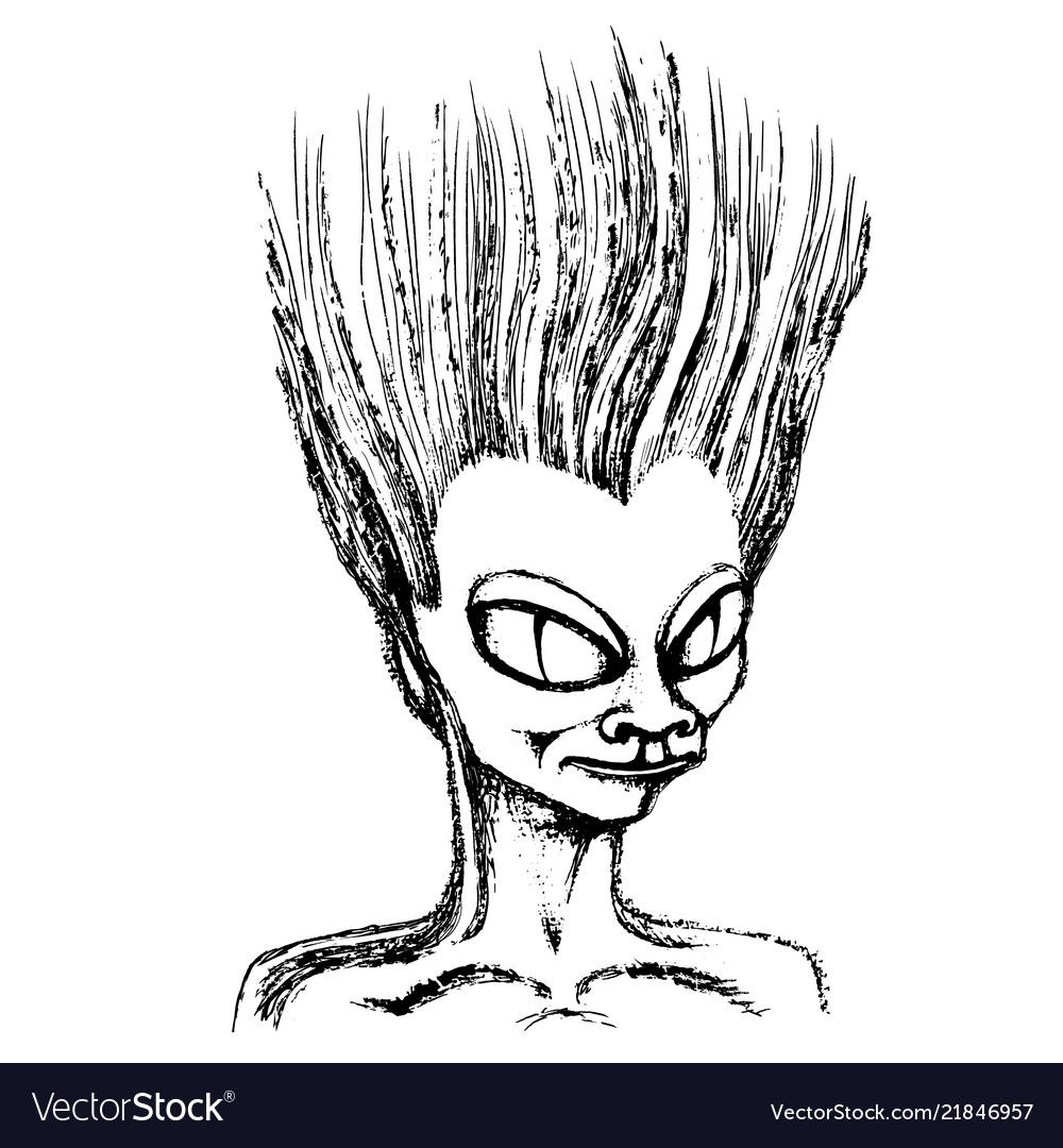 Sketch head of an alien