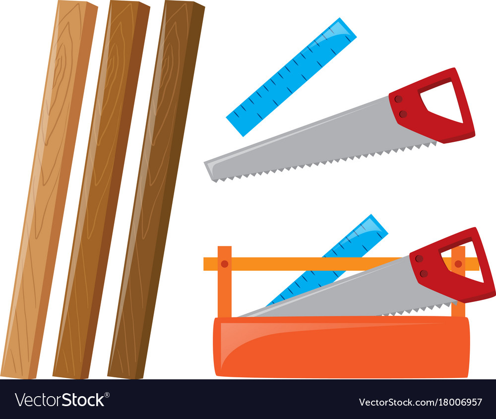 Wooden sticks and tools vector image