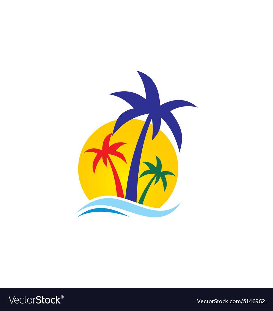 Beach palm tree travel logo