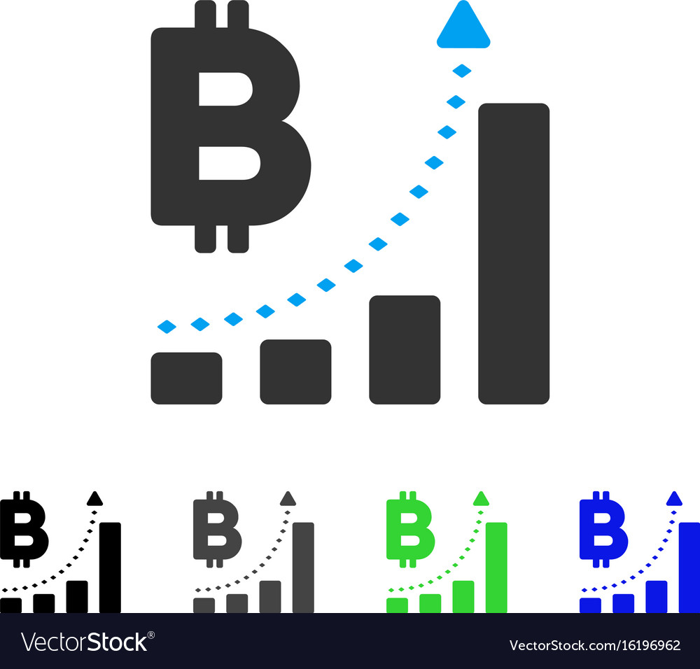 Bitcoin bar chart positive trend flat icon vector image