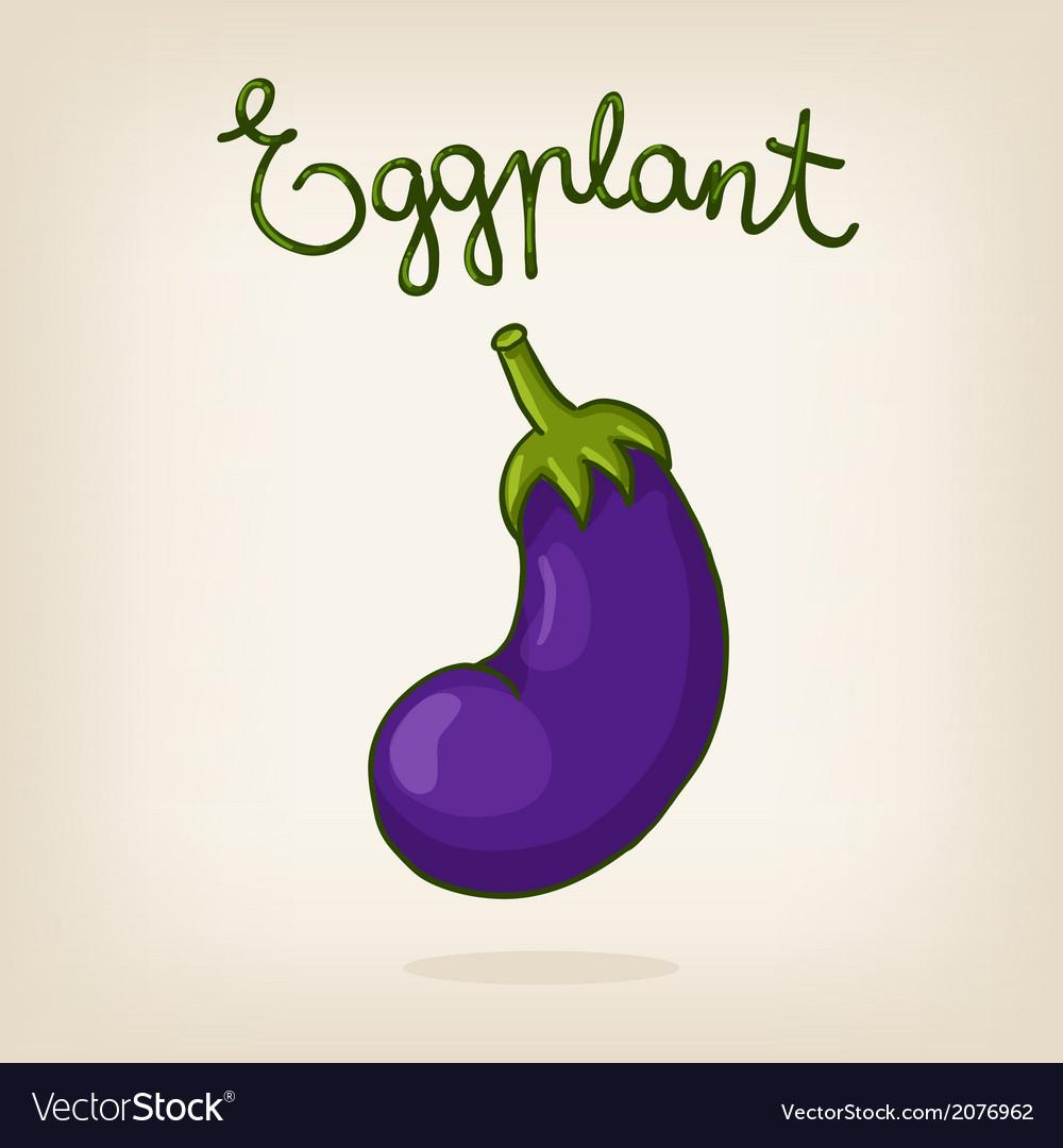 Cute hand drawn shiny eggplant
