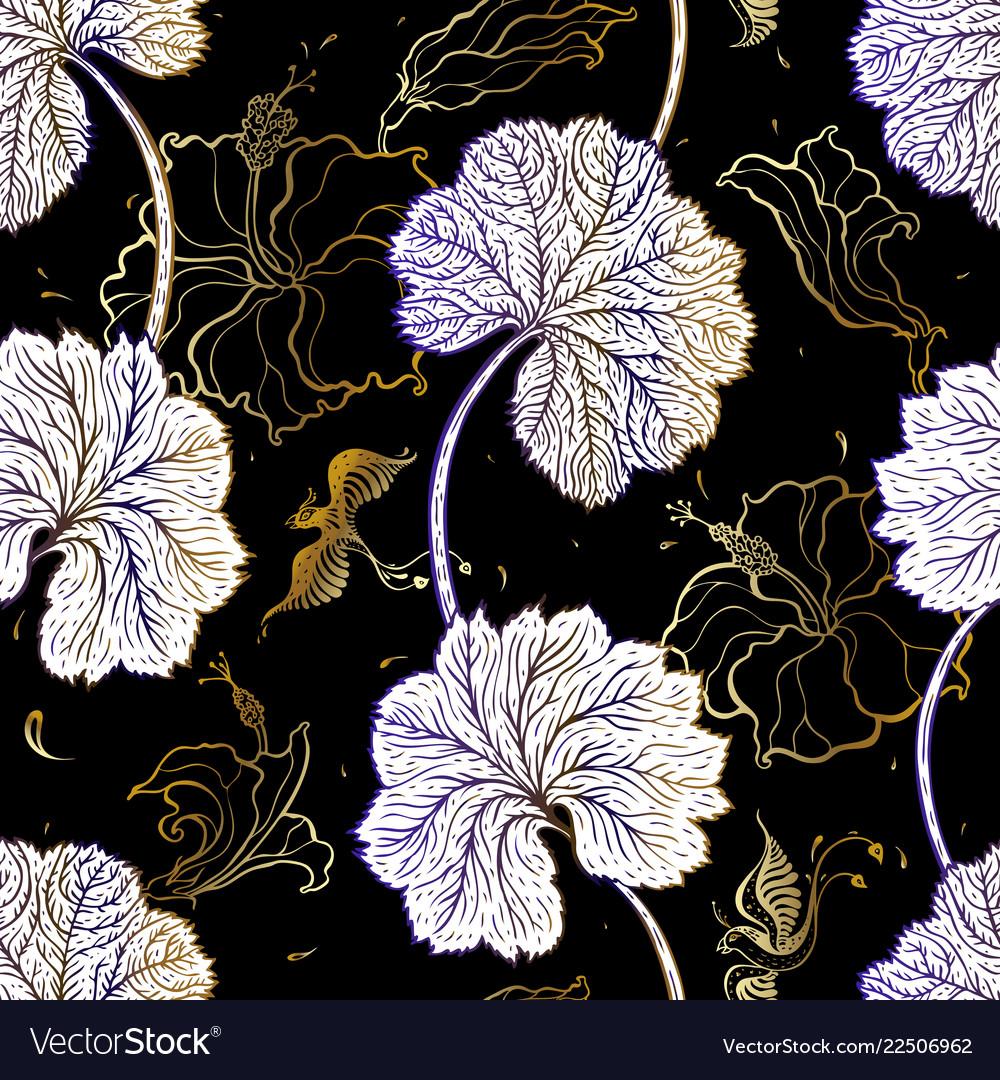 Elegant seamless vintage pattern of leafs