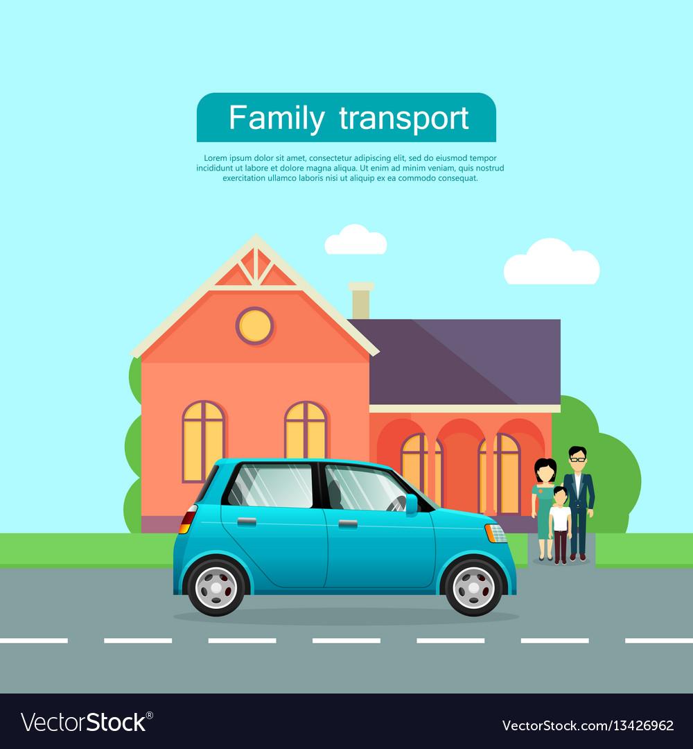 Family transport flat web banner