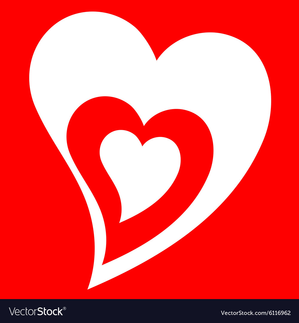 Heart love set red vector image