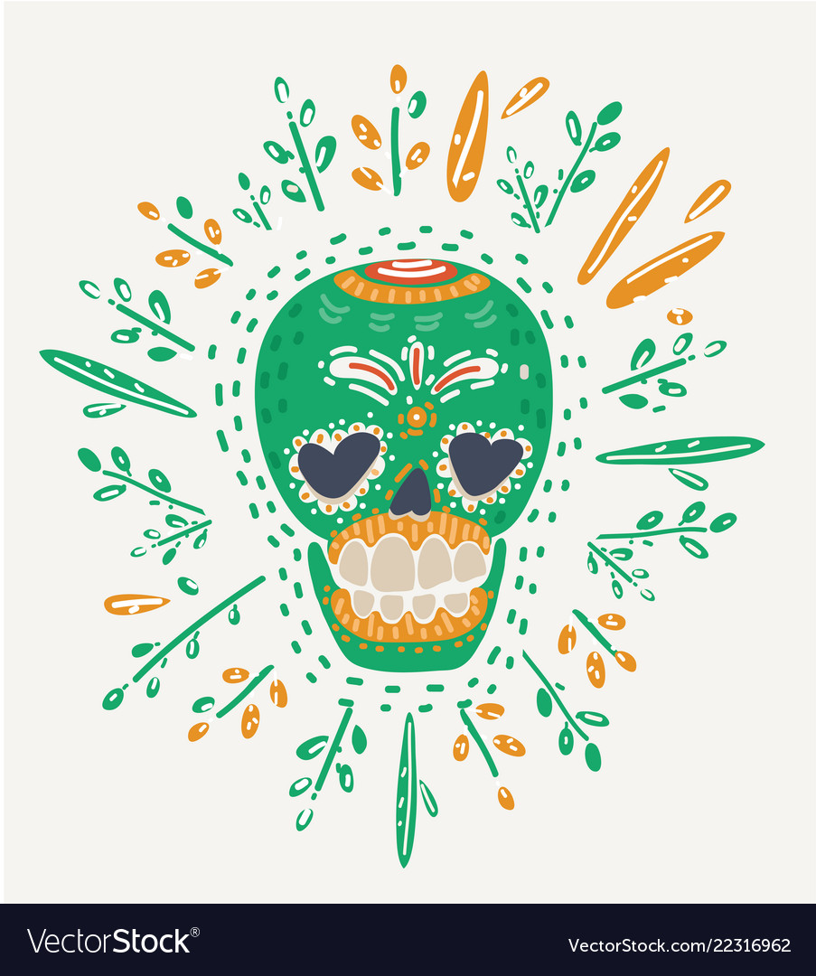 Hipster day of the dead skull