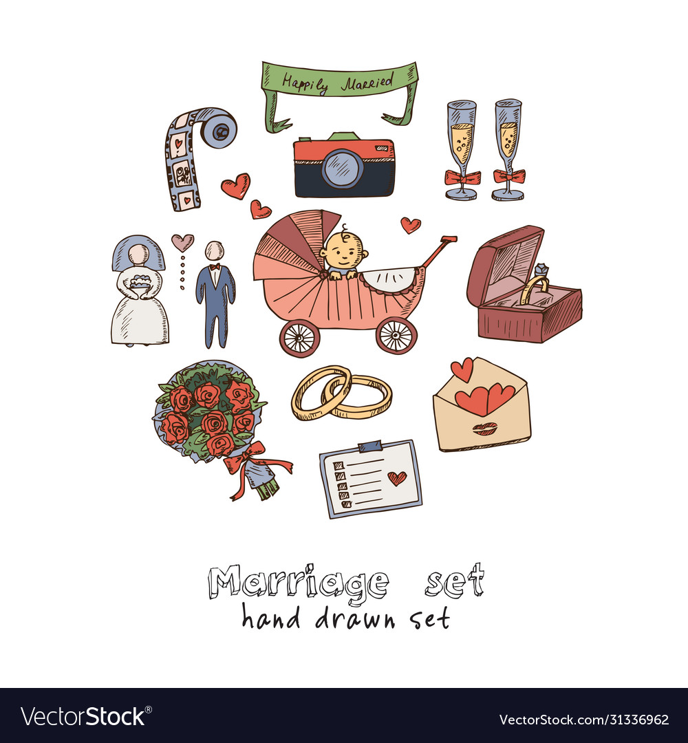 Marriage hand drawn doodle set isolated elements