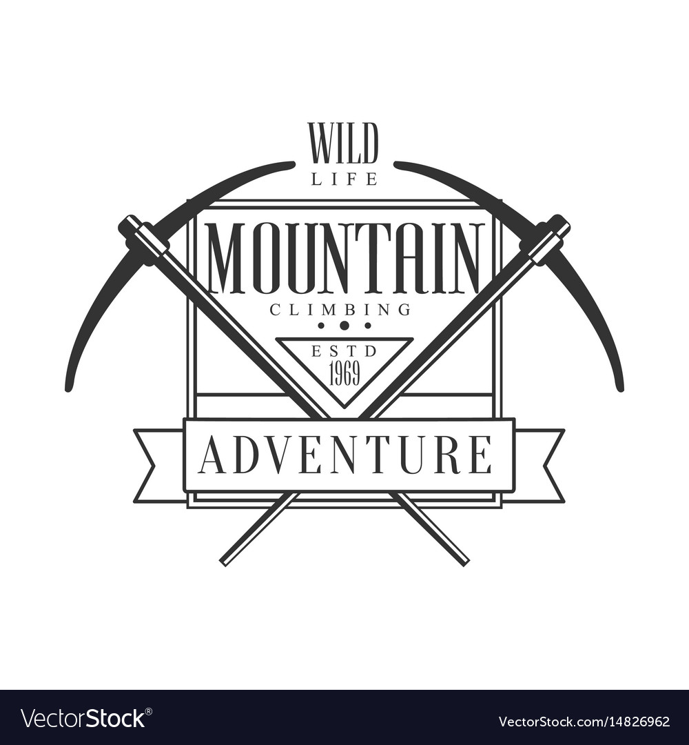 Mountain climbing adventure wild life logo