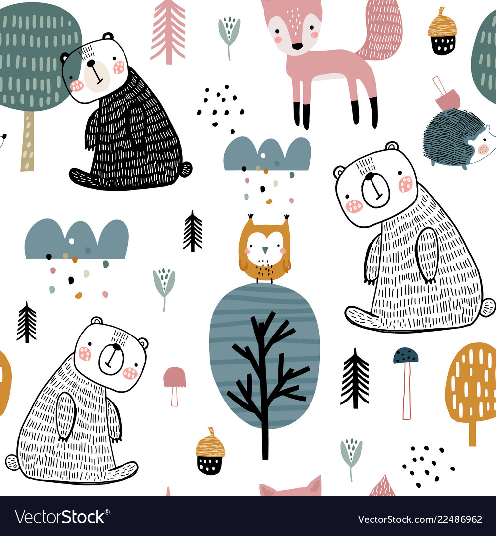 Semless woodland pattern with cute bear hedgehog