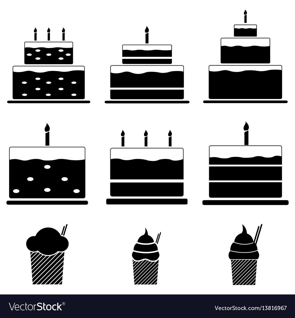 Birthday cakes icon set
