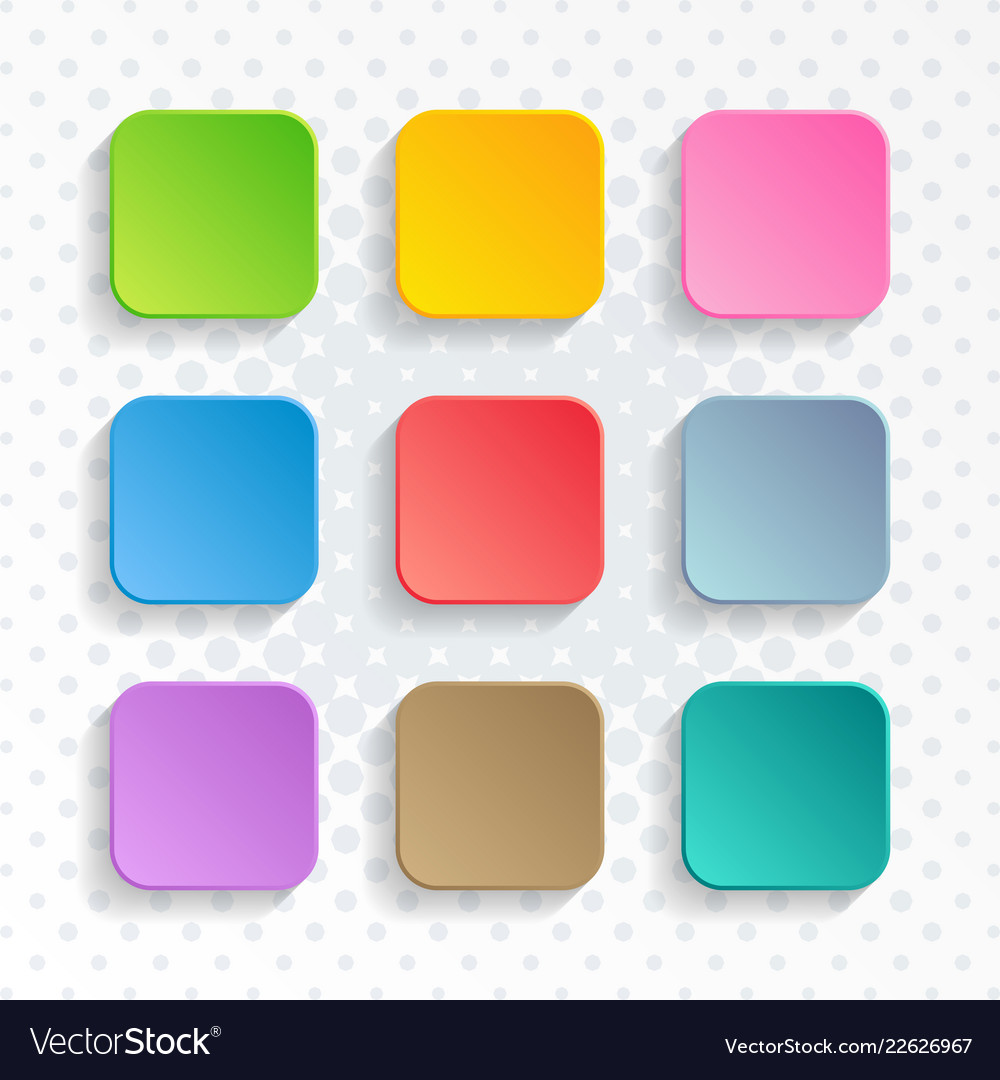 Blank colorful rounded square web buttons