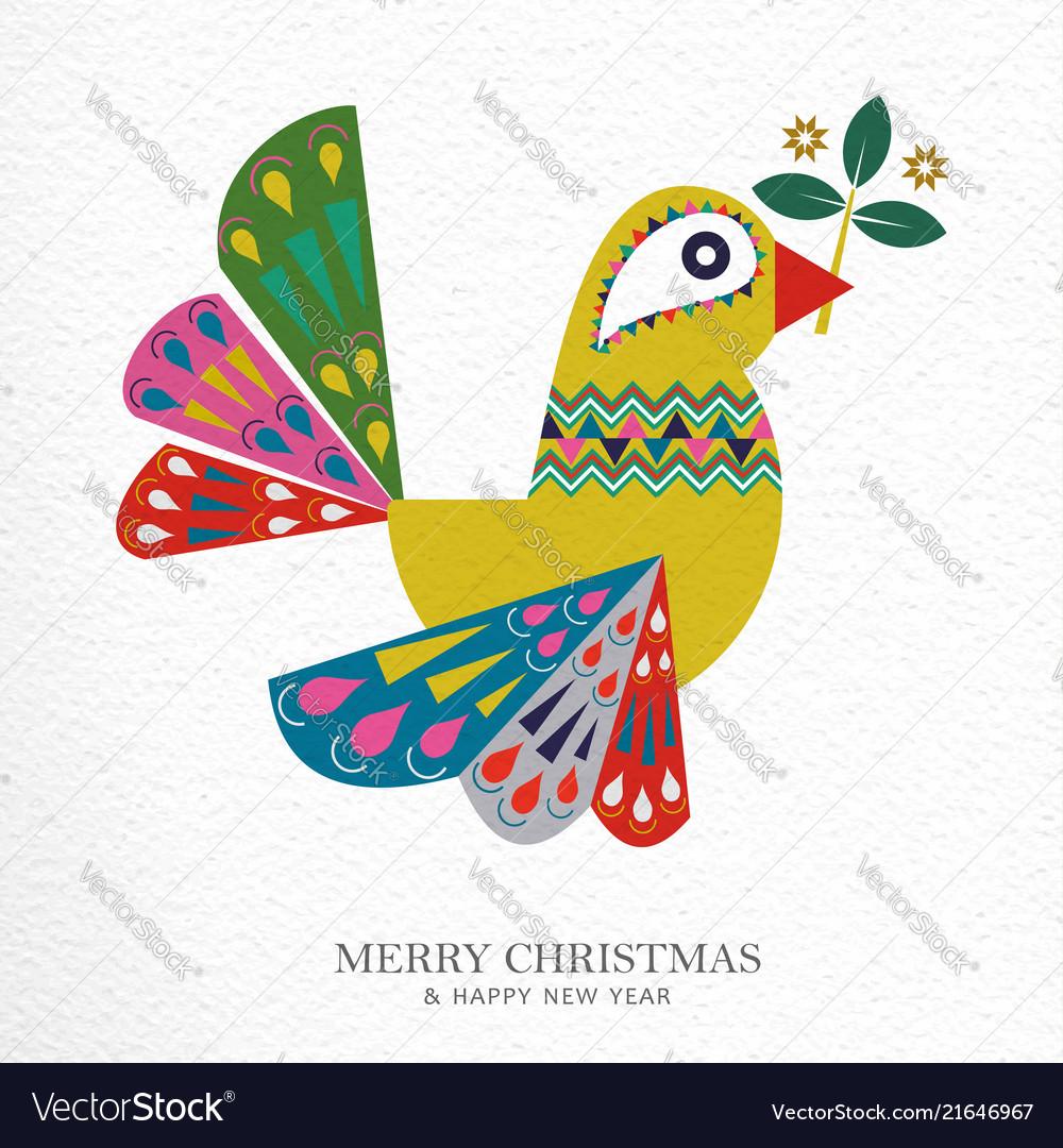 Christmas and new year folk art bird greeting card
