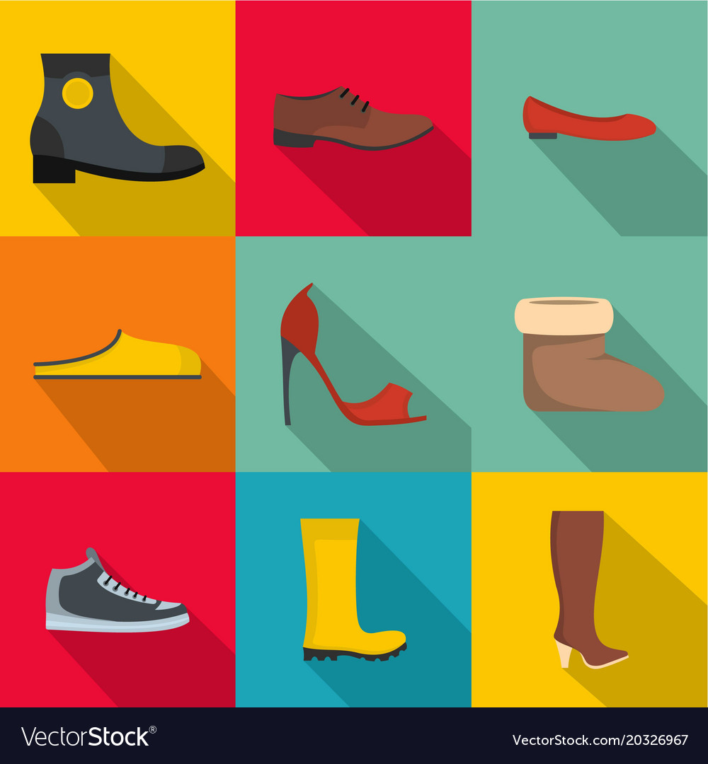 Convenient footwear icons set flat style