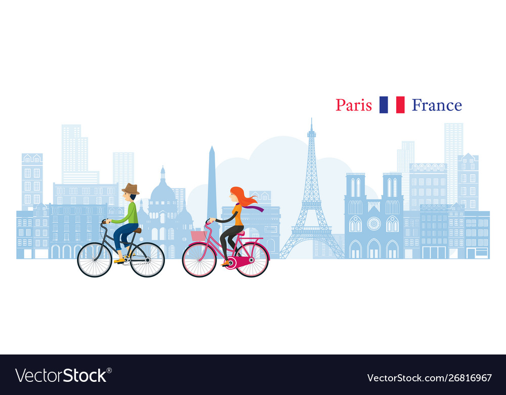 Couple cycling with paris france skyline