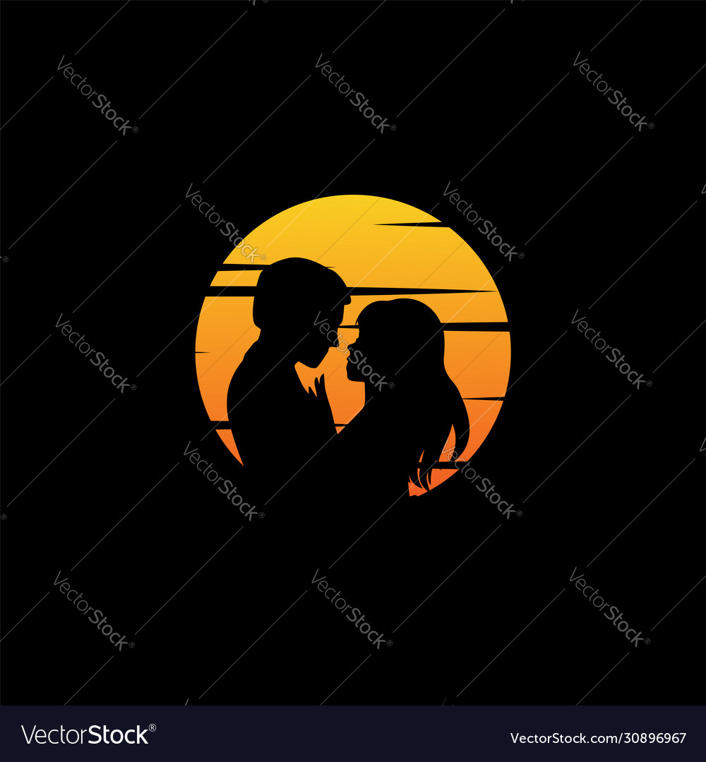 Couple with sunset background