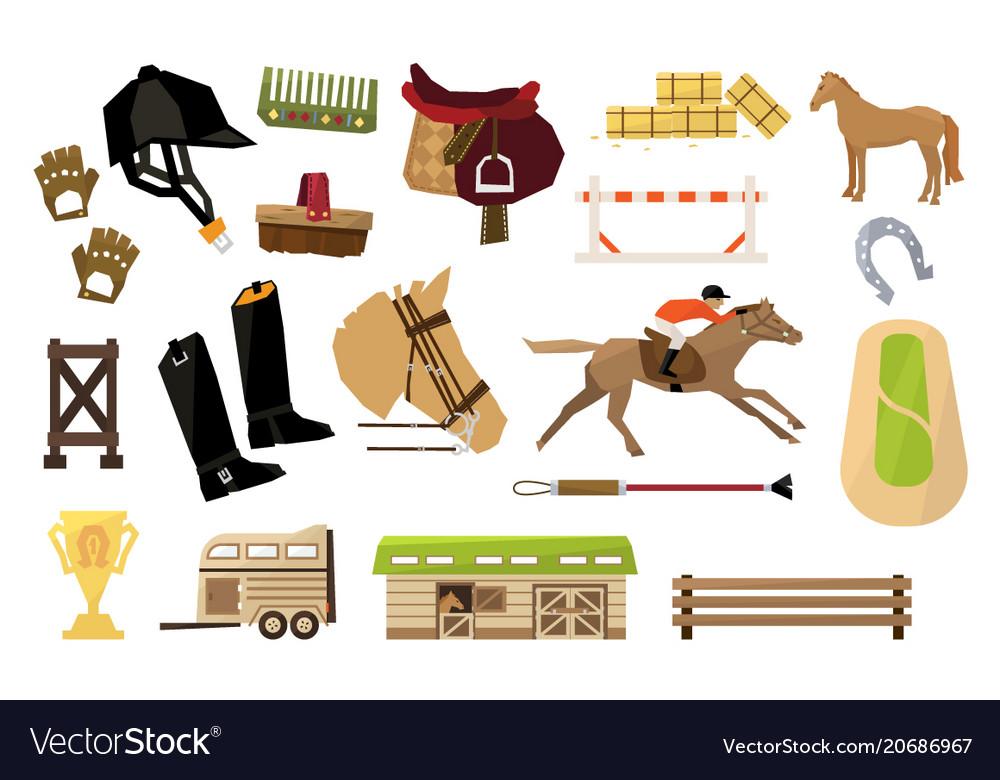 Flat set of equestrianism sport objects