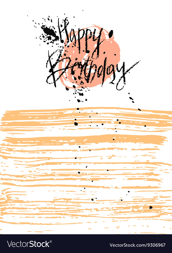 Hand Draw Texture Happy Birthday Card Vector Image