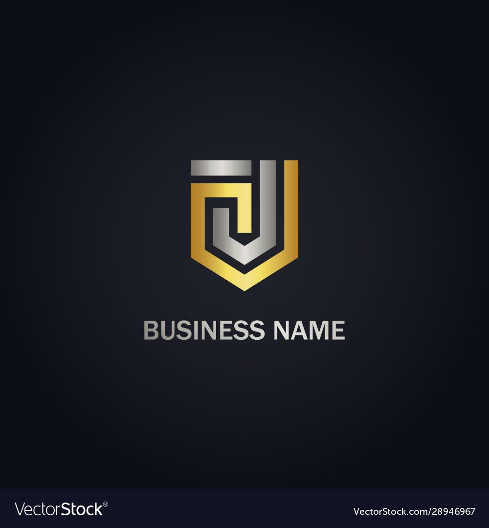 J initial shape line shield gold logo